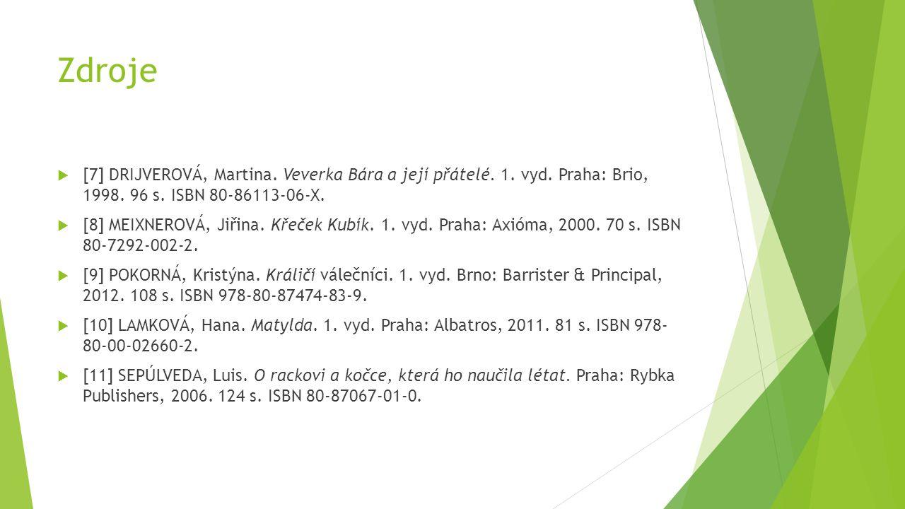 Zdroje [7] DRIJVEROVÁ, Martina. Veverka Bára a její přátelé. 1. vyd. Praha: Brio, 1998. 96 s. ISBN 80-86113-06-X.